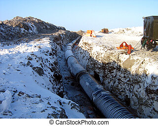 Pipe-laying - pipe-laying, barge, vessel, ship, boat, sea,...