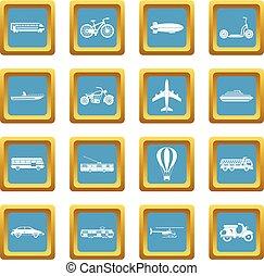 Transportation icons azure
