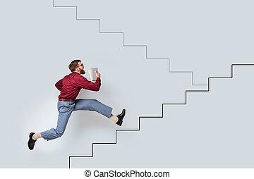 bärtig, junger, auf, rennender , buecher, gezeichnet, treppe, mann