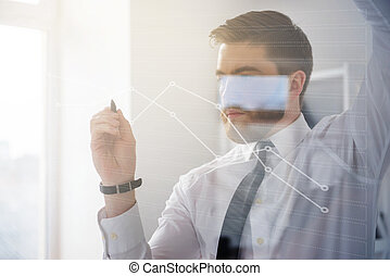 Businessman working with virtual screen - Serious bearded...