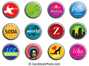 Bottle Caps - Creative collection of vector illustrated...