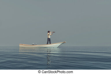 Man watching through a spyglass in a boat afloat the sea....