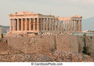 Acropole, avant, Coucher soleil