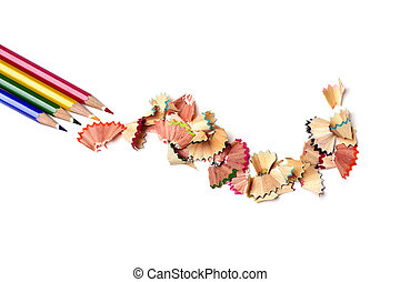 pencil crayons and shavings of different colors