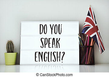 question do you speak English? - a lightbox with the...