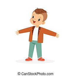 Cute happy little boy cartoon vector Illustration