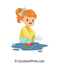 Sweet little girl playing with paper boat in a water puddle cartoon vector Illustration