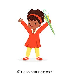 Cute happy black little girl standing and holding umbrella cartoon vector Illustration