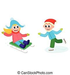 vector kids having fun outdoors in winter set
