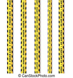 vector yellow black police tape set isolated - vector yellow...
