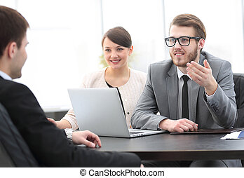 employees communicate with the customer in the office -...