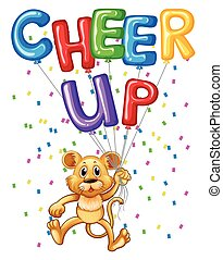 Cute lion cub with balloons and word cheer up illustration