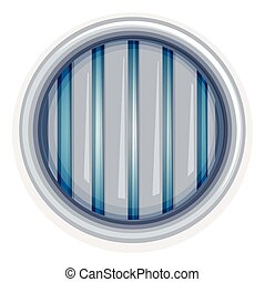 White round window with metal bars illustration