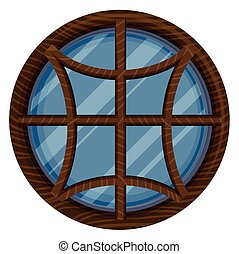 Round window with wooden frame illustration
