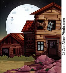 Old wooden house at night time illustration