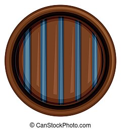 Round window with metal bars illustration