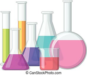 Beakers with chemical inside illustration