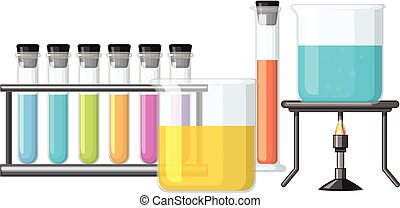 Beakers filled with colorful liquid illustration