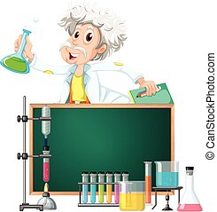 Old  scientist in the lab