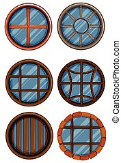 Different design of round window illustration