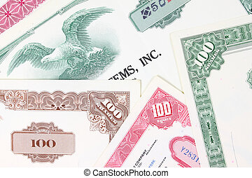 Stock market collectibles. Old stock share certificates from...