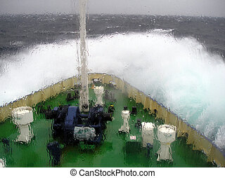 Storm - vessel,oil derrick, ship, water, sea, ocean,...