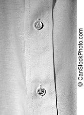 White Dress Shirt Buttons Business Formal Wear - Closeup of...