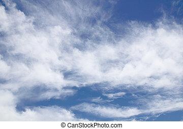 美麗, 藍色, 云霧, 天空, 背景, 白色