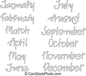 Months of the year. Handwritten words. Hand lettering for...
