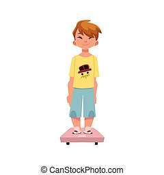 Boy, kid, child standing still on weight scale
