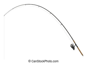isolated fishing pole in white back