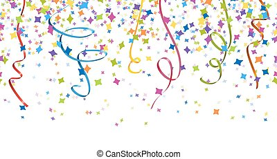 seamless confetti and streamer party background - seamless...