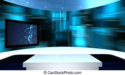 Virtual studio with a table and two TV screens. Virtual tv...