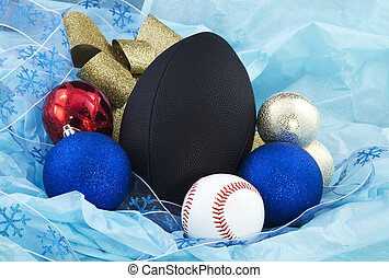 Holiday Sports Party Time - Baseball and football are...