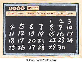 hand drawing 2011 September calendar, monthly calendar of...