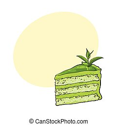 Hand drawn piece of matcha green tea layered cake