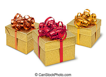 Three golden present gift boxes with silky bows and ribbons
