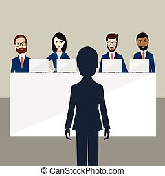 Job interview in office. Officers and candidate. Flat vector...