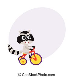 Cute little raccoon character riding bicycle, tricycle, cycling, cartoon illustration