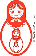 Three red Russian dolls, cartoon on a white background.