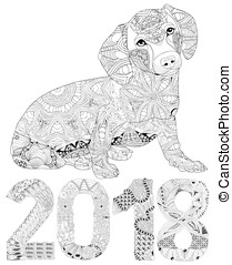 Number 2018 zentangle with dog. Vector decorative object
