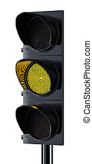 Traffic light with yellow signal lighting