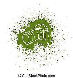 Digital Camera Icon. Photographic Poster on Green Blob...