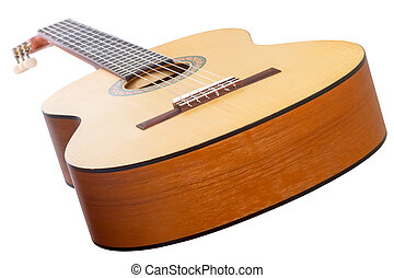 Six-string guitar on white - Classical six-string guitar...