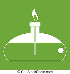 Spiritlamp icon green - Spiritlamp icon white isolated on...