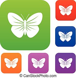 Black butterfly set collection - Black butterfly set icon in...