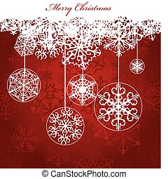 Christmas red Background With Snowflakes