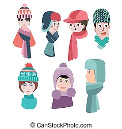 Set of hats for winter season man and woman hats and scarves
