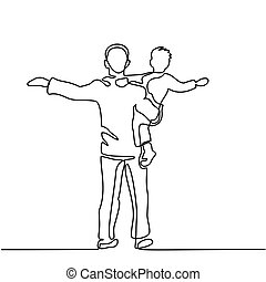 Father with son in his arms - Continuous line drawing vector...