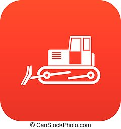 Bulldozer icon digital red for any design isolated on white...